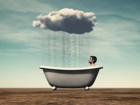 個人的なニーズの概念-風呂に座っている男と雨雲。3d レンダーイラストレーション
