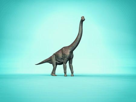 シンプルなブルーのエレガントな branchiosaurus 背景 3 d 恐竜の文字 写真素材