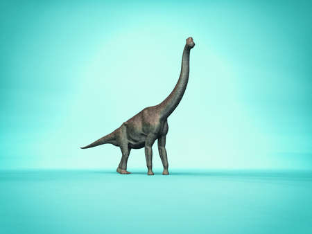 Elegant branchiosaurus on simple blue background - 3d dinosaur character