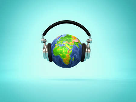 Listening the world - headphone on Earth globe showing Europe and Africa continents. 3d render illustration 版權商用圖片