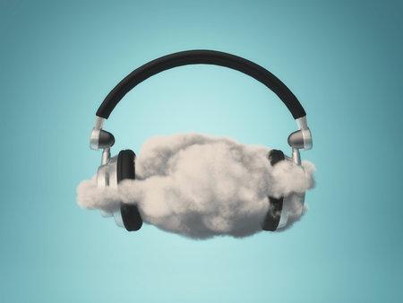 Soft music concept - headphones placed on a cloud. 3d render illustration Stok Fotoğraf