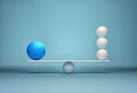 Spheres in balance - leadership and team. This is a 3d render illustration