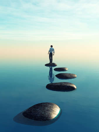 The young man sits on a large stone in the middle of the sea. This is a 3d render illustration Stok Fotoğraf