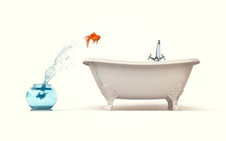 더 많은 공간 개념 - 금붕어 그릇에 목욕에서 점프 필요합니다. 3d 렌더링 illustartion