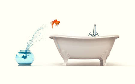 Need more space concept - goldfish jumping from bowl in bath. 3d render illustartion Imagens