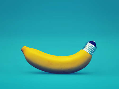 Energizing fruit -  a banana with a bulb socket instead of tail - green energy concept - 3d render illustration