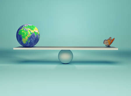 Frail balance of the environment - Earth globe and a butterfly in balance. This is a 3d render illustration