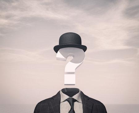 Homme d'affaires avec un point d'interrogation au lieu de la tête. Illustration de rendu 3D Banque d'images - 87646787
