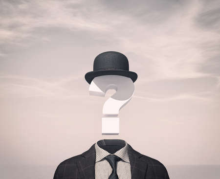 Business man with a question mark instead of head . 3d render illustration Stock Photo