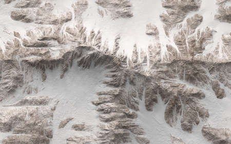 Top view of snowy mountains - 3d render illustration Stock Photo
