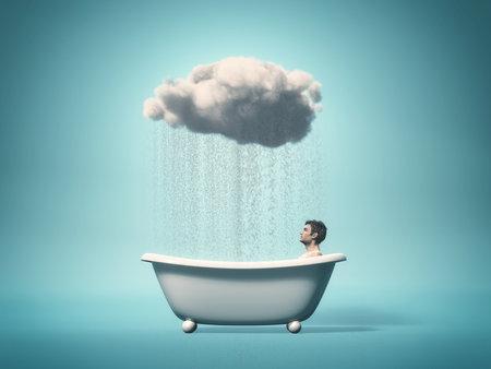 個人的なニーズ コンセプト - バスタブ、雨の雲に坐っていた男。3 d レンダリング図 写真素材
