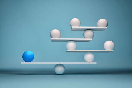 Leadership balancing the team - sfere in balance. This is a 3d render illustration
