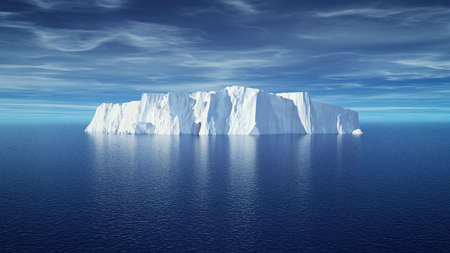 View of iceberg with beautiful transparent sea on background. This is a 3d render illustration Фото со стока - 90911376