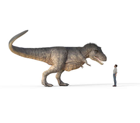 Man face to face with trex white on white background. This is a 3d render illustration