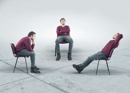 The conceptual image with a thoughtful man in three different positions sitting on chair. The concept of thinking process.
