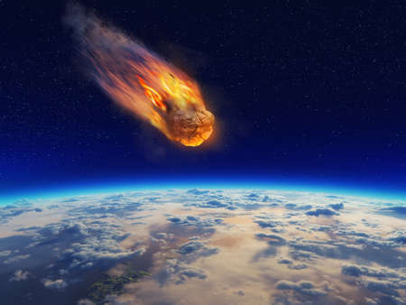 Meteor falling to planet earth .