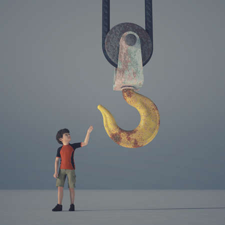 Little boy reaching a crane hook - 3d render illustration Stok Fotoğraf - 97755916