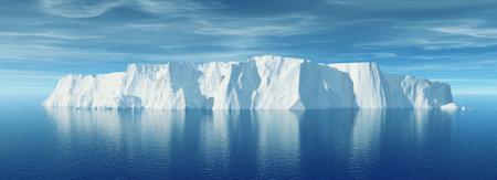 Weergave van ijsberg met prachtige transparante zee op de achtergrond. Dit is een 3d render illustratie Stockfoto