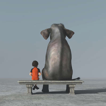 Little boy and an elephant sits on a bank and look to the horizon together. This is a 3d render illustration