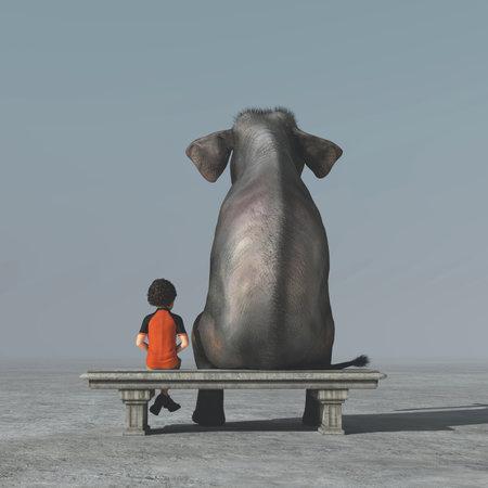 Il ragazzino e un elefante si siedono su una riva e guardano insieme all'orizzonte. Questa è un'illustrazione di rendering 3d