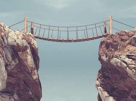 Old bridge over between two big rocks. This is a 3d render illustration