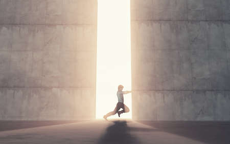 Young man pushing a big door. This is a 3d render illustration