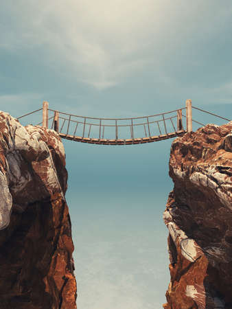 Old bridge over between two big rocks. This is a 3d render illustration 스톡 콘텐츠 - 102867365