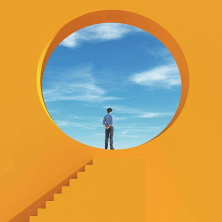 Man was looking through a hole in the wall to the sky. This is a 3d render illustration Stock Photo
