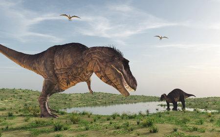 Twee dinosaurussen. Dit is een 3d render