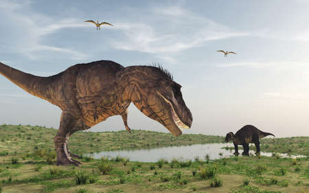 Two dinosaurs. This is a 3d render Stock Photo - 102890711