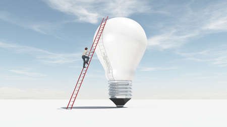 The man climbs on a ladder supported by a big bulb. The concept of ascension. This is a 3d render illustration. Stock Illustration - 102844730