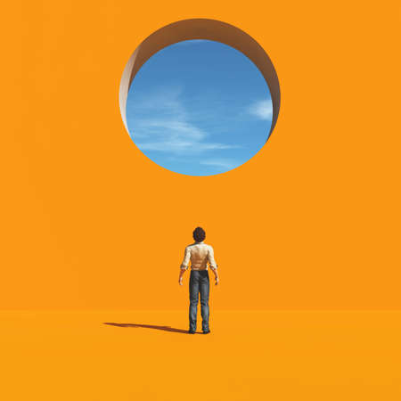 Man was looking through a hole in the wall to the sky. This is a 3d render illustration