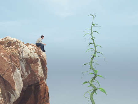Man sitting on a rock and looking up to his big beanstalk growing up to the sky  This is a 3d render illustration Stock Photo