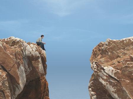 Jeune homme sur un rocher devant un gouffre. Ceci est une illustration de rendu 3D