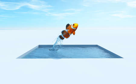A clownfish jumping out of the water. This is a 3d render illustration Stock Photo