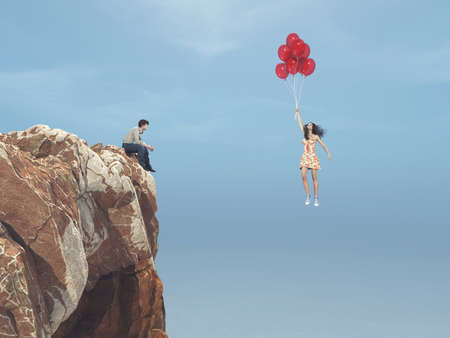 Man sits on a hill and sees a girl flying with balloons. This is a 3d render Stok Fotoğraf