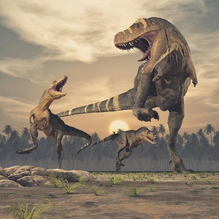 Three dinosaurs - tyrannosaurus rex. This is a 3d render illustration