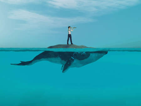 Man  above a huge whale looking for the shoreline. This is a 3d render illustration Stock fotó