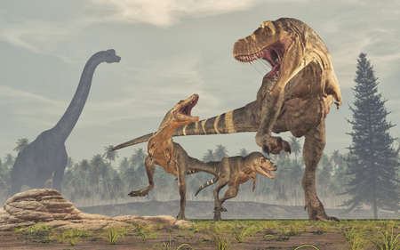 Family of dinosaurs - tyrannosaurus rex. This is a 3d render illustration Stock Illustration - 102909412
