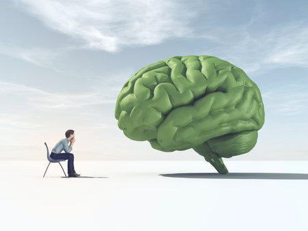 Man kijkt naar een groen brein in een veld. Dit is een 3d render-afbeelding