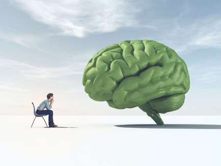 Man looking at a green brain in a field. This is a 3d render illustration