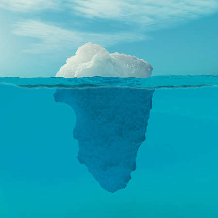 Underwater view of iceberg with beautiful transparent sea on background. This is a 3d render illustration Standard-Bild - 102933342