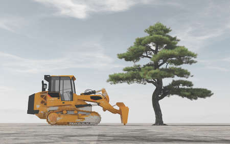 Excavator in front of a tree. The concept of land clearing This is a 3d render illustration
