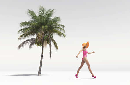 Woman walking for a beach on white background - 3d render illustration