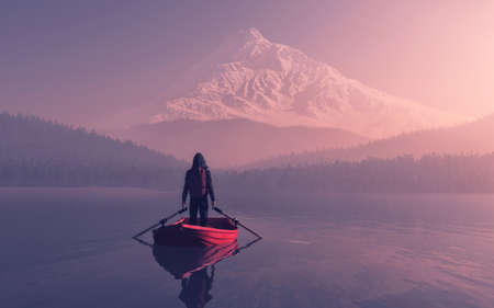 Man sitting on a boat on the mountain lake - 3d illustration