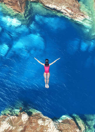 Women jumping off rocks into ocean - 3d illustration