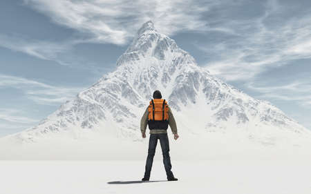 Conceptual image of a man hiker  with backpack in front of a mountain - 3d illustration