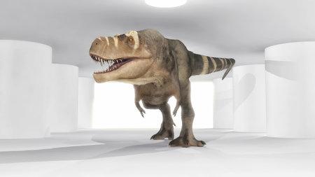 Tyrannosaurus Rex walking iwalking through indoors - 3d illustration Stock Photo