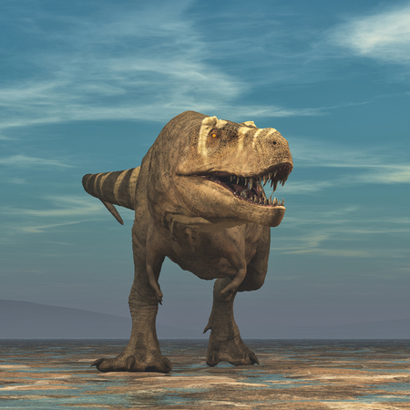 Tyrannosaurus Rex on white background - 3d render illustration