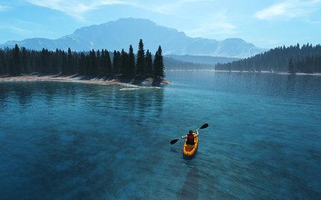 Uomo con canoa sul lago. 3d render illustrazione